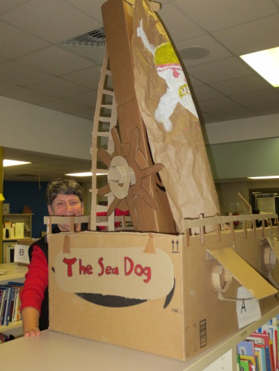 Cardboard Creativity Fair: Linda Foreman checks out The Sea Dog ship's construction