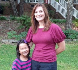 Jeannine and her daughter on the first day of school
