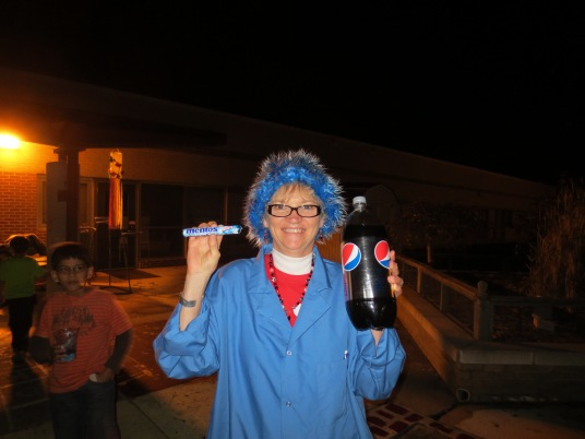Mad Scientist Seligman gets ready for the exploding Mentos experiment in the courtyard