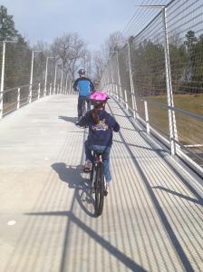 Crossing the I-40 bridge