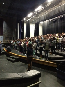 200 elementary students from across Durham rehearse at  Riverside High School